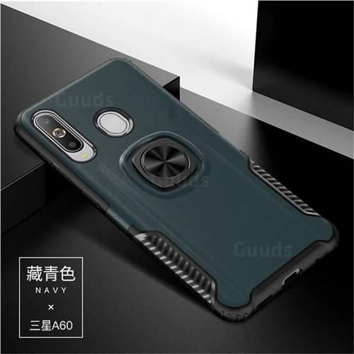 Knight Armor Anti Drop PC + Silicone Invisible Ring Holder Phone Cover for Samsung Galaxy A60 - Navy