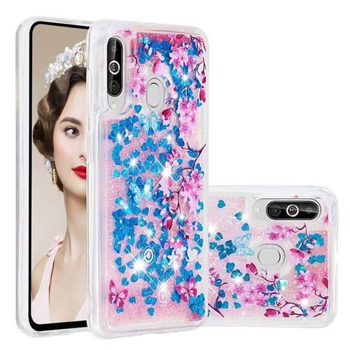 Blue Plum Blossom Dynamic Liquid Glitter Quicksand Soft TPU Case for Samsung Galaxy A60