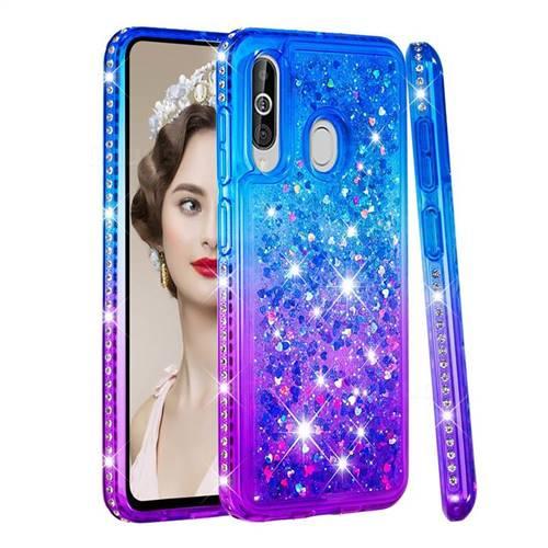 Diamond Frame Liquid Glitter Quicksand Sequins Phone Case for Samsung Galaxy A60 - Blue Purple