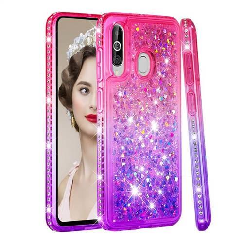 Diamond Frame Liquid Glitter Quicksand Sequins Phone Case for Samsung Galaxy A60 - Pink Purple