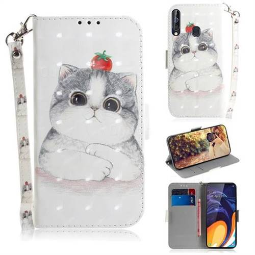Cute Tomato Cat 3D Painted Leather Wallet Phone Case for Samsung Galaxy A60
