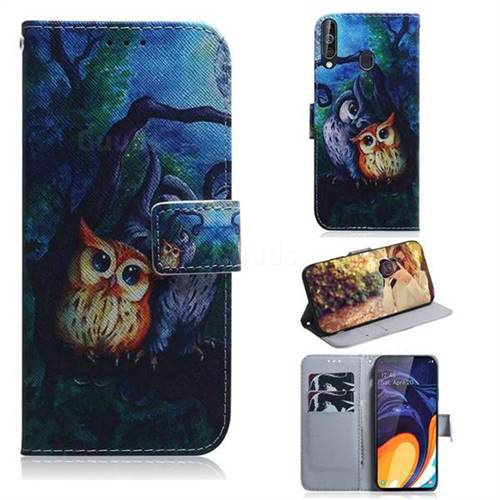 Oil Painting Owl PU Leather Wallet Case for Samsung Galaxy A60