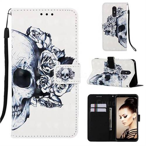 Skull Flower 3D Painted Leather Wallet Case for Samsung Galaxy A60