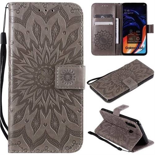 Embossing Sunflower Leather Wallet Case for Samsung Galaxy A60 - Gray