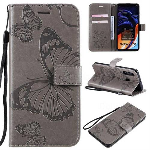 Embossing 3D Butterfly Leather Wallet Case for Samsung Galaxy A60 - Gray