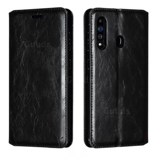 Retro Slim Magnetic Crazy Horse PU Leather Wallet Case for Samsung Galaxy A60 - Black
