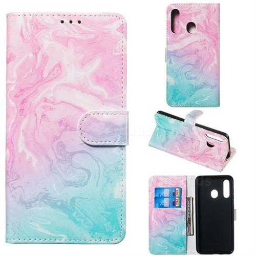 Pink Green Marble PU Leather Wallet Case for Samsung Galaxy A60
