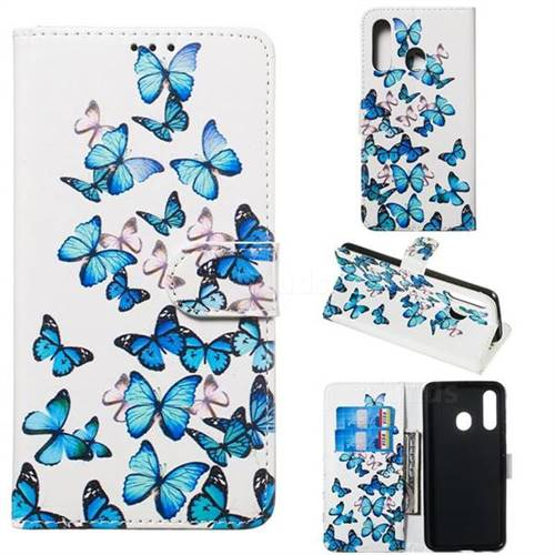 Blue Vivid Butterflies PU Leather Wallet Case for Samsung Galaxy A60