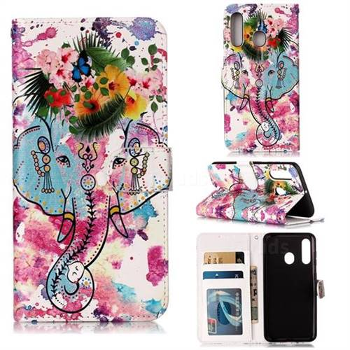 Flower Elephant 3D Relief Oil PU Leather Wallet Case for Samsung Galaxy A60