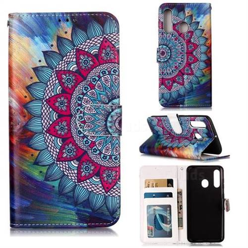 Mandala Flower 3D Relief Oil PU Leather Wallet Case for Samsung Galaxy A60