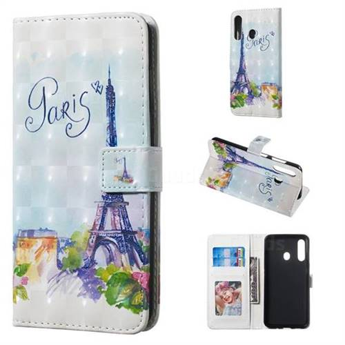 Paris Tower 3D Painted Leather Phone Wallet Case for Samsung Galaxy A60