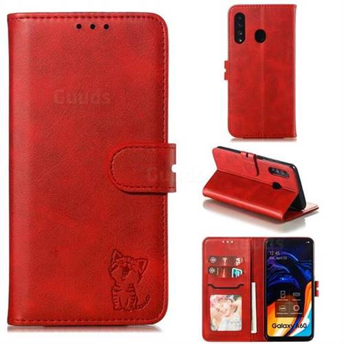 Embossing Happy Cat Leather Wallet Case for Samsung Galaxy A60 - Red