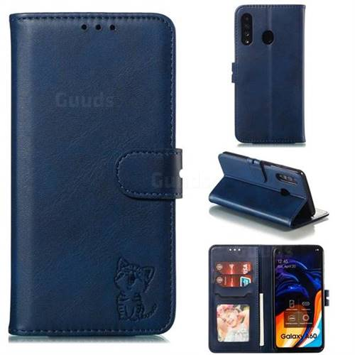 Embossing Happy Cat Leather Wallet Case for Samsung Galaxy A60 - Blue