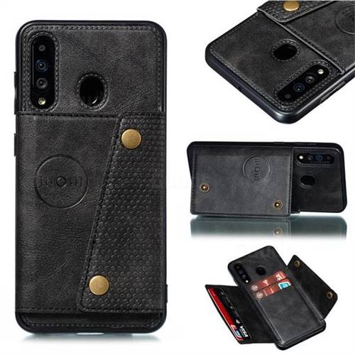 Retro Multifunction Card Slots Stand Leather Coated Phone Back Cover for Samsung Galaxy A60 - Black