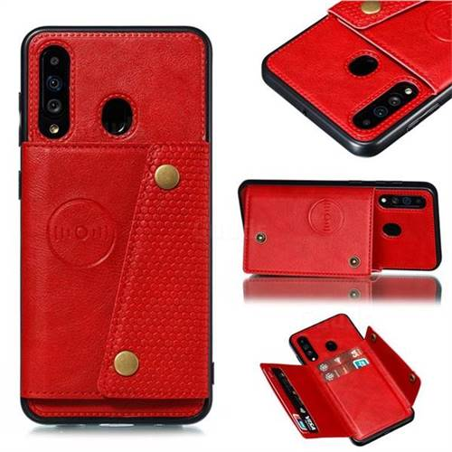 Retro Multifunction Card Slots Stand Leather Coated Phone Back Cover for Samsung Galaxy A60 - Red