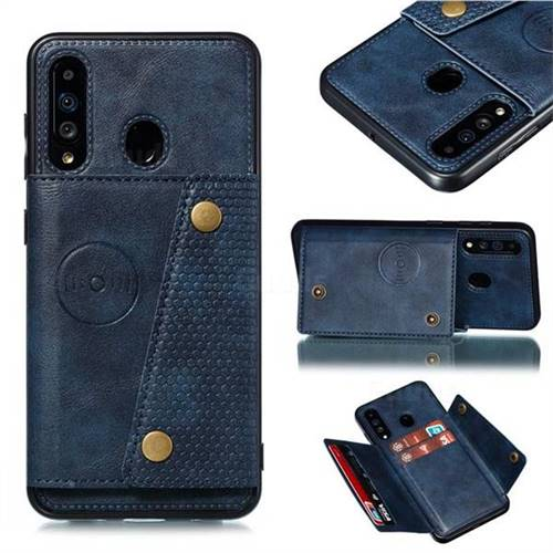 Retro Multifunction Card Slots Stand Leather Coated Phone Back Cover for Samsung Galaxy A60 - Blue