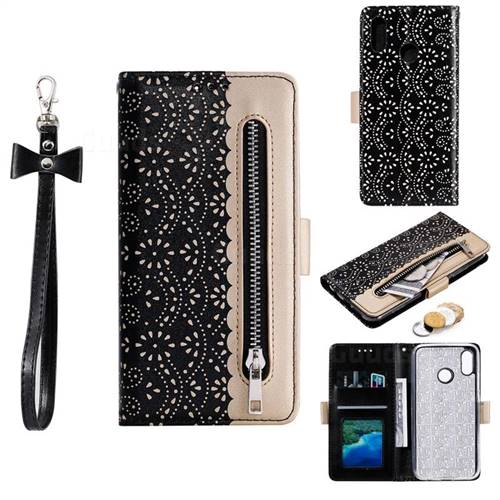 Luxury Lace Zipper Stitching Leather Phone Wallet Case for Samsung Galaxy A60 - Black