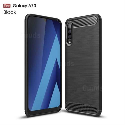 Luxury Carbon Fiber Brushed Wire Drawing Silicone TPU Back Cover for Samsung Galaxy A70 - Black