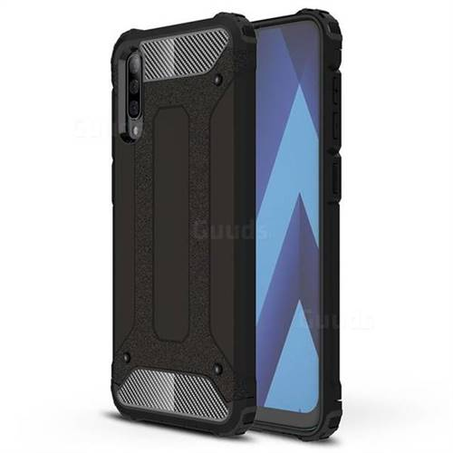King Kong Armor Premium Shockproof Dual Layer Rugged Hard Cover for Samsung Galaxy A70 - Black Gold