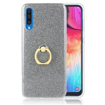 Luxury Soft TPU Glitter Back Ring Cover with 360 Rotate Finger Holder Buckle for Samsung Galaxy A70 - Black