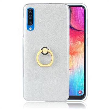 Luxury Soft TPU Glitter Back Ring Cover with 360 Rotate Finger Holder Buckle for Samsung Galaxy A70 - White