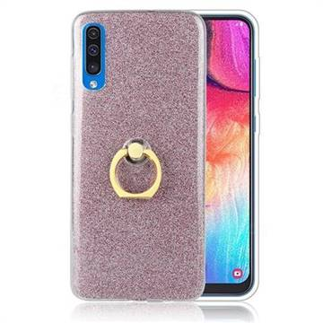 Luxury Soft TPU Glitter Back Ring Cover with 360 Rotate Finger Holder Buckle for Samsung Galaxy A70 - Pink