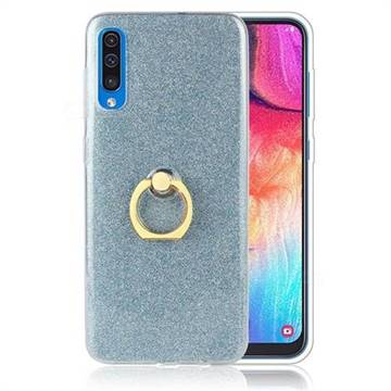 Luxury Soft TPU Glitter Back Ring Cover with 360 Rotate Finger Holder Buckle for Samsung Galaxy A70 - Blue