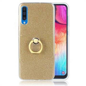 Luxury Soft TPU Glitter Back Ring Cover with 360 Rotate Finger Holder Buckle for Samsung Galaxy A70 - Golden