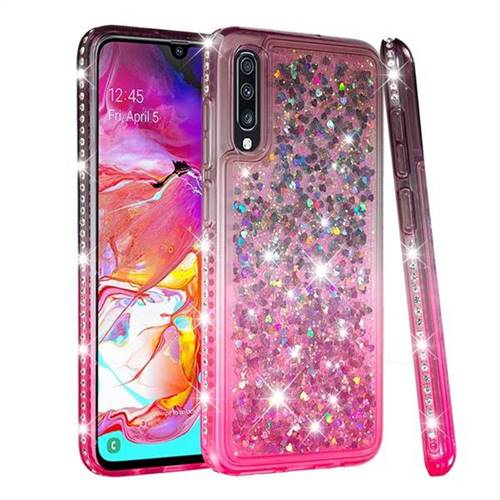 Diamond Frame Liquid Glitter Quicksand Sequins Phone Case for Samsung Galaxy A70 - Gray Pink