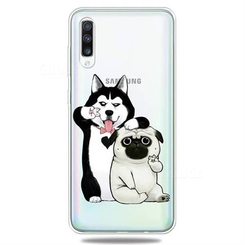 Selfie Dog Clear Varnish Soft Phone Back Cover for Samsung Galaxy A70