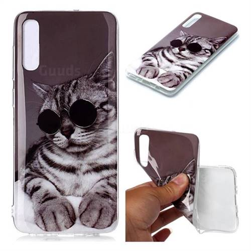 Kitten with Sunglasses Soft TPU Cell Phone Back Cover for Samsung Galaxy A70