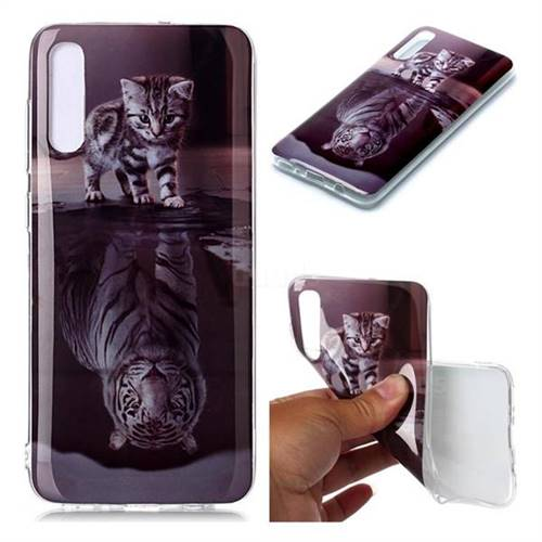 Cat and Tiger Soft TPU Cell Phone Back Cover for Samsung Galaxy A70