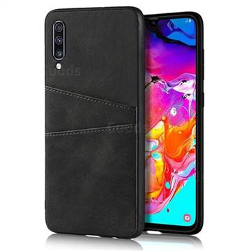 Simple Calf Card Slots Mobile Phone Back Cover for Samsung Galaxy A70 - Black