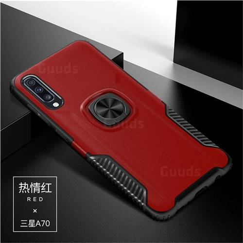 Knight Armor Anti Drop PC + Silicone Invisible Ring Holder Phone Cover for Samsung Galaxy A70 - Red