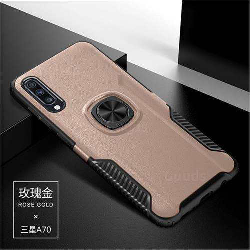 Knight Armor Anti Drop PC + Silicone Invisible Ring Holder Phone Cover for Samsung Galaxy A70 - Rose Gold