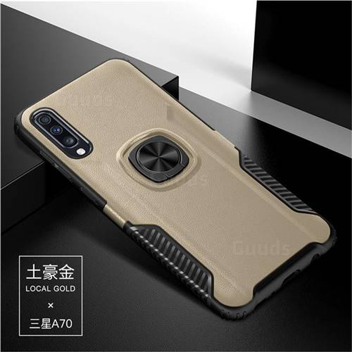 Knight Armor Anti Drop PC + Silicone Invisible Ring Holder Phone Cover for Samsung Galaxy A70 - Champagne