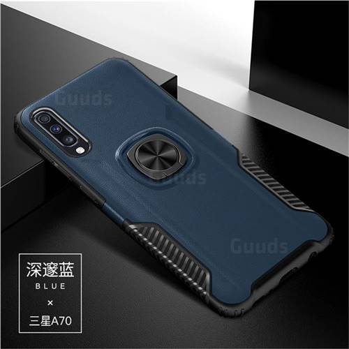 Knight Armor Anti Drop PC + Silicone Invisible Ring Holder Phone Cover for Samsung Galaxy A70 - Sapphire