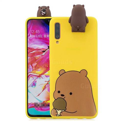 Brown Bear Soft 3D Climbing Doll Stand Soft Case for Samsung Galaxy A70