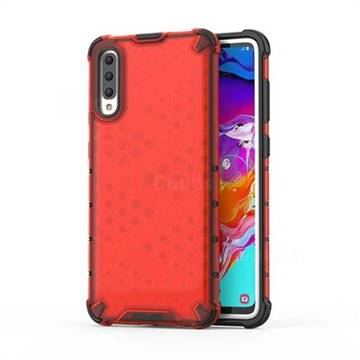 Honeycomb TPU + PC Hybrid Armor Shockproof Case Cover for Samsung Galaxy A70 - Red