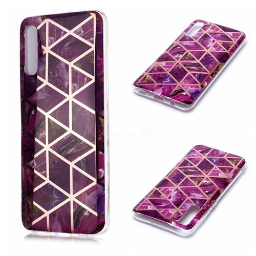 Purple Rhombus Galvanized Rose Gold Marble Phone Back Cover for Samsung Galaxy A70