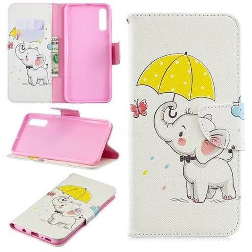 Umbrella Elephant Leather Wallet Case for Samsung Galaxy A70