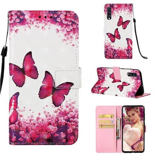 Rose Butterfly 3D Painted Leather Wallet Case for Samsung Galaxy A70