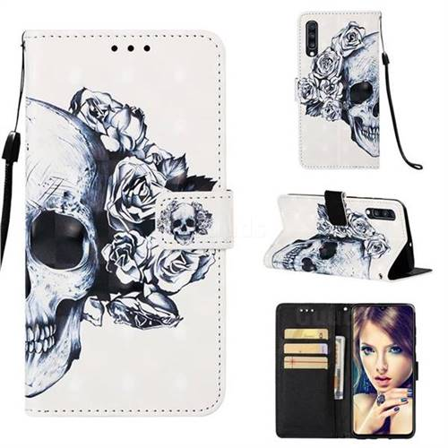 Skull Flower 3D Painted Leather Wallet Case for Samsung Galaxy A70