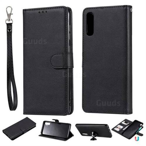 Retro Greek Detachable Magnetic PU Leather Wallet Phone Case for Samsung Galaxy A70 - Black