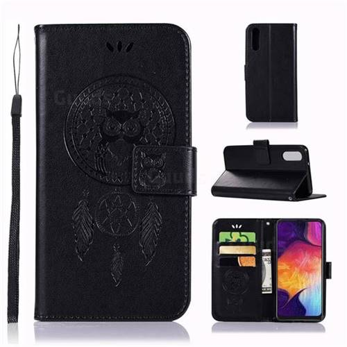Intricate Embossing Owl Campanula Leather Wallet Case for Samsung Galaxy A70 - Black
