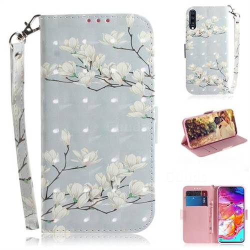 Magnolia Flower 3D Painted Leather Wallet Phone Case for Samsung Galaxy A70