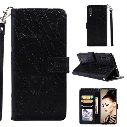 Embossing Fireworks Elephant Leather Wallet Case for Samsung Galaxy A70 - Black