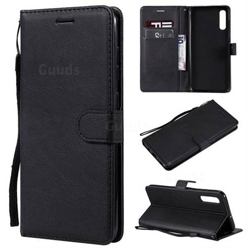 Retro Greek Classic Smooth PU Leather Wallet Phone Case for Samsung Galaxy A70 - Black