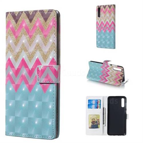 Color Wave 3D Painted Leather Phone Wallet Case for Samsung Galaxy A70