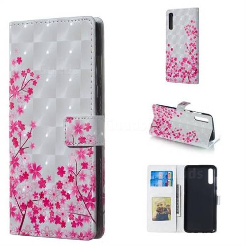 Cherry Blossom 3D Painted Leather Phone Wallet Case for Samsung Galaxy A70